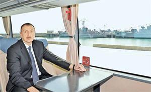 Ильхам Алиев на борту корабля