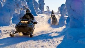 Можно отправиться на снежное сафари на снегоходах